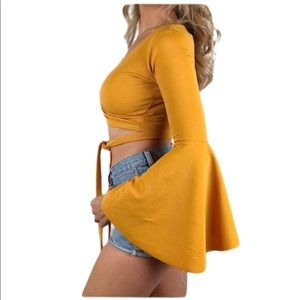 Mustard yellow bell sleeved crop top
